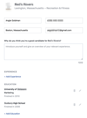 Facebook Jobs Application