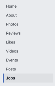 Facebook Jobs tab