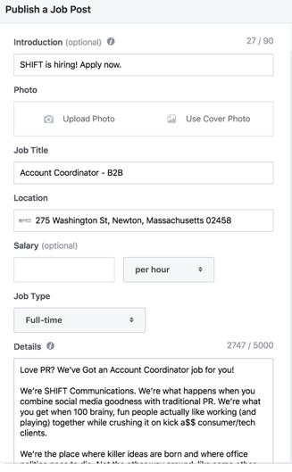 Facebook jobs - fields